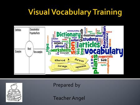 Prepared by Teacher Angel. I. Vocabulary  Kinds of Vocabulary  What does it mean to know a word?  Obstacles in Vocabulary Development  Primary Goals.