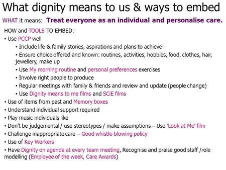 What dignity means to us & ways to embed WHAT it means: Treat everyone as an individual and personalise care. HOW and TOOLS TO EMBED: Use PCCP well Include.