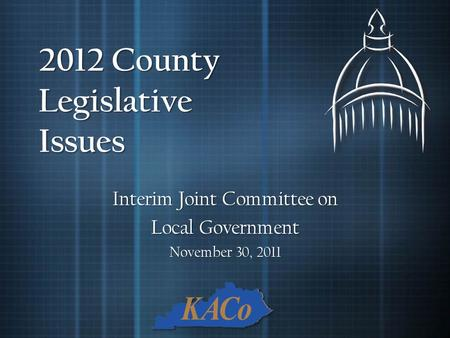 2012 County Legislative Issues Interim Joint Committee on Local Government November 30, 2011.
