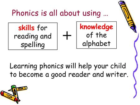 Phonics is all about using … skills for reading and spelling knowledge of the alphabet + Learning phonics will help your child to become a good reader.