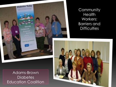 Adams-Brown Diabetes Education Coalition Community Health Workers: Barriers and Difficulties.