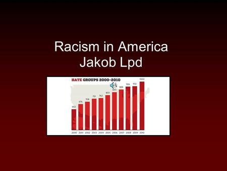 Racism in America Jakob Lpd. Death toll 600,000 people will DIE this year from hate crimes.