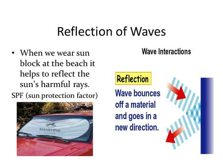 Reflection of Waves When we wear sun block at the beach it helps to reflect the sun's harmful rays. SPF (sun protection factor)