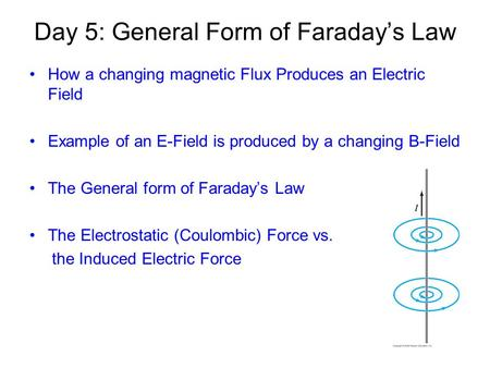 Day 5: General Form of Faraday's Law How a changing magnetic Flux Produces an Electric Field Example of an E-Field is produced by a changing B-Field The.