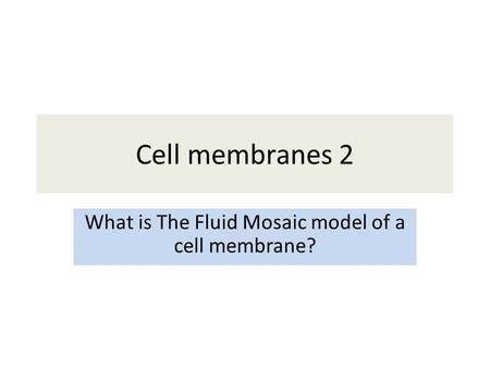 Cell membranes 2 What is The Fluid Mosaic model of a cell membrane?