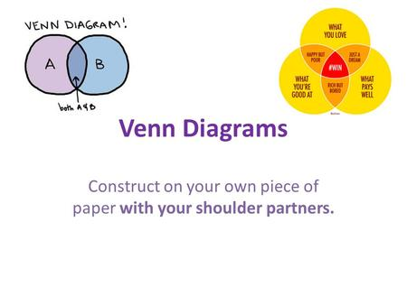 Venn Diagrams Construct on your own piece of paper with your shoulder partners.
