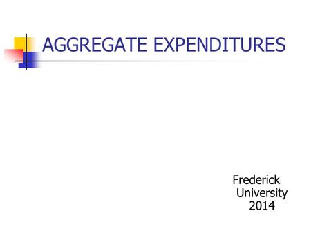 AGGREGATE EXPENDITURES Frederick University 2014.