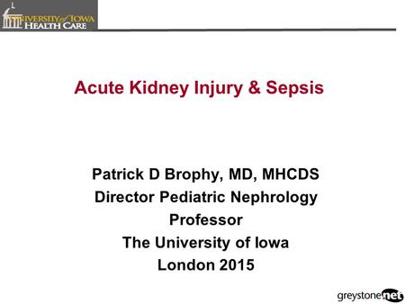 Acute Kidney Injury & Sepsis Patrick D Brophy, MD, MHCDS Director Pediatric Nephrology Professor The University of Iowa London 2015.