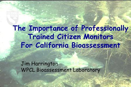The Importance of Professionally Trained Citizen Monitors For California Bioassessment Jim Harrington WPCL Bioassessment Laboratory.