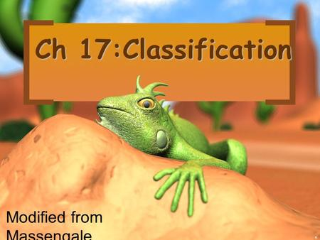 1 Ch 17:Classification Modified from Massengale, biology junction.