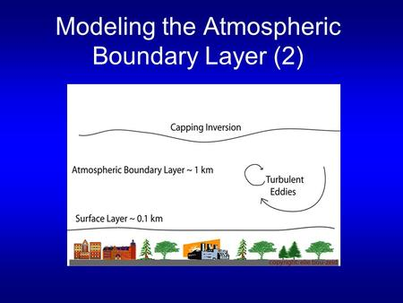 Modeling the Atmospheric Boundary Layer (2). Review of last lecture Reynolds averaging: Separation of mean and turbulent components u = U + u', = 0 Intensity.
