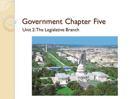 Government Chapter Five Unit 2: The Legislative Branch.