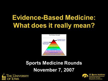 Evidence-Based Medicine: What does it really mean? Sports Medicine Rounds November 7, 2007.