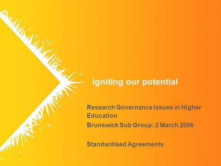 Igniting our potential Research Governance Issues in Higher Education Brunswick Sub Group: 2 March 2006 Standardised Agreements.