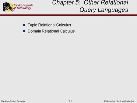©Silberschatz, Korth and Sudarshan5.1Database System Concepts Chapter 5: Other Relational Query Languages Tuple Relational Calculus Domain Relational Calculus.