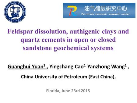 Feldspar dissolution, authigenic clays and quartz cements in open or closed sandstone geochemical systems Guanghui Yuan 1, Yingchang Cao 1 Yanzhong Wang.