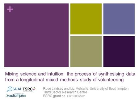 + Mixing science and intuition: the process of synthesising data from a longitudinal mixed methods study of volunteering Rose Lindsey and Liz Metcalfe,