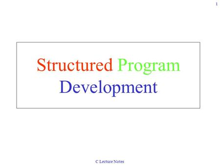 C Lecture Notes 1 Structured Program Development.
