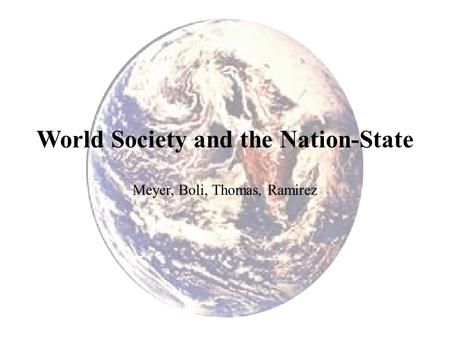 World Society and the Nation-State