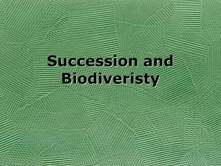 Succession and Biodiveristy. What are some factors that limit the growth of a population? Availability of resources Food Predators Temperature Climate-