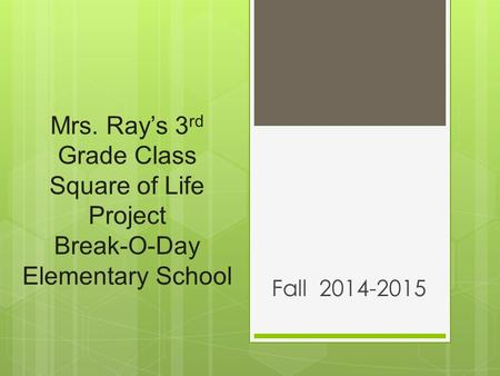 Mrs. Ray's 3 rd Grade Class Square of Life Project Break-O-Day Elementary School Fall 2014-2015.