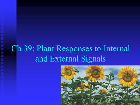 Ch 39: Plant Responses to Internal and External Signals.
