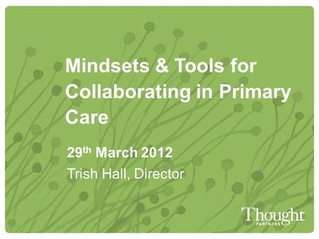 Mindsets & Tools for Collaborating in Primary Care 29 th March 2012 Trish Hall, Director.