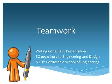 Teamwork Writing Consultant Presentation