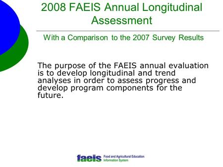 2008 FAEIS Annual Longitudinal Assessment With a Comparison to the 2007 Survey Results The purpose of the FAEIS annual evaluation is to develop longitudinal.