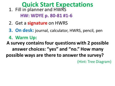Quick Start Expectations 1.Fill in planner and HWRS HW: WDYE p. 80-81 #1-6 2.Get a signature on HWRS 3.On desk: journal, calculator, HWRS, pencil, pen.