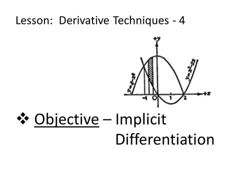 Lesson: Derivative Techniques - 4  Objective – Implicit Differentiation.