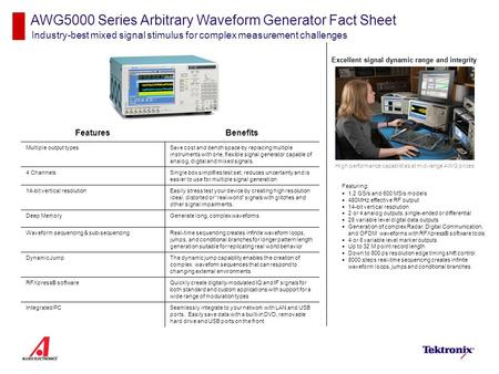 AWG5000 Series Arbitrary Waveform Generator Fact Sheet Industry-best mixed signal stimulus for complex measurement challenges Featuring:  1.2 GS/s and.
