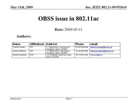 Doc.:IEEE 802.11-09/0536r0 Submission May 11th, 2009 Slide 1 OBSS issue in 802.11ac Authors: Date: 2009-05-11.