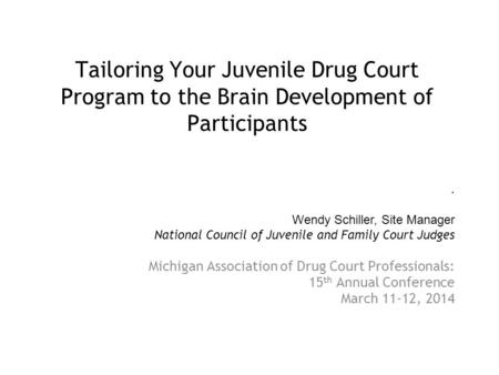 Tailoring Your Juvenile Drug Court Program to the Brain Development of Participants Michigan Association of Drug Court Professionals: 15 th Annual Conference.