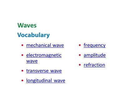 mechanical wave electromagnetic waveelectromagnetic wave transverse wave longitudinal wave Waves frequency amplitude refraction.