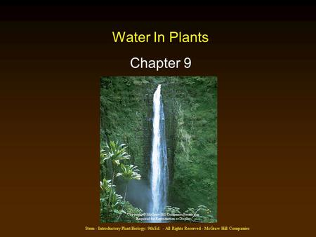 Stern - Introductory Plant Biology: 9th Ed. - All Rights Reserved - McGraw Hill Companies Water In Plants Chapter 9 Copyright © McGraw-Hill Companies Permission.