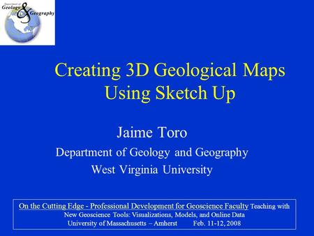 Creating 3D Geological Maps Using Sketch Up