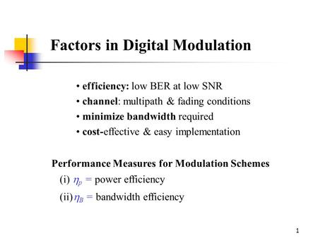 Factors in Digital Modulation