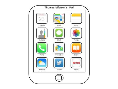Thomas Jefferson's iPad CalendarMapsNotes ContactsClockPhotos PhoneNewsstandiBooks WeatherTwitterNetflix.
