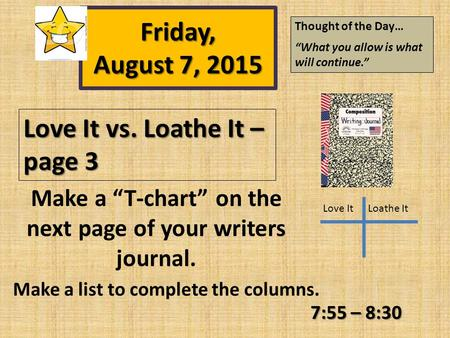 "Love It vs. Loathe It – page 3 7:55 – 8:30 Love ItLoathe It Make a ""T-chart"" on the next page of your writers journal. Make a list to complete the columns."
