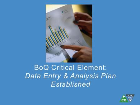 BoQ Critical Element: Data Entry & Analysis Plan Established.