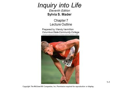 1-1 Inquiry into Life Eleventh Edition Sylvia S. Mader Chapter 7 Lecture Outline Prepared by: Wendy Vermillion Columbus State Community College Copyright.