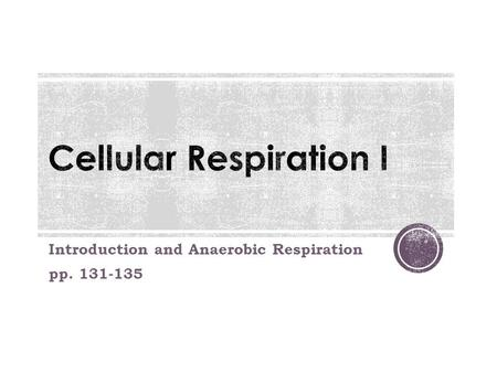 Introduction and Anaerobic Respiration pp. 131-135.