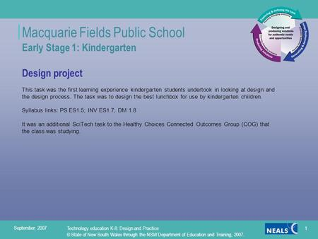 Macquarie Fields Public School Early Stage 1: Kindergarten Design project This task was the first learning experience kindergarten students undertook in.
