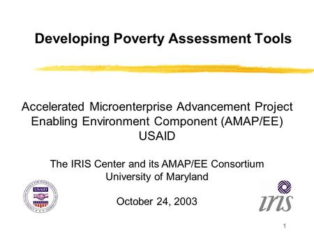1 Developing Poverty Assessment Tools Accelerated Microenterprise Advancement Project Enabling Environment Component (AMAP/EE) USAID The IRIS Center and.