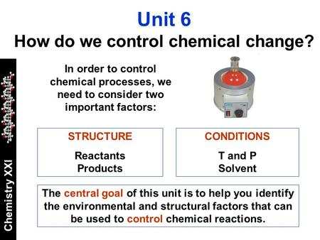 Chemistry XXI The central goal of this unit is to help you identify the environmental and structural factors that can be used to control chemical reactions.