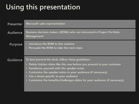 Presenter Microsoft sales representative Audience Business decision makers (BDMs) who are interested in Project Portfolio Management Purpose Introduce.