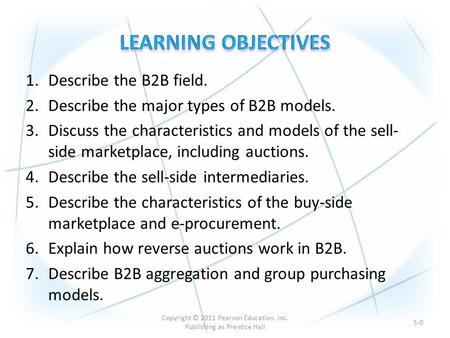 1.Describe the B2B field. 2.Describe the major types of B2B models. 3.Discuss the characteristics and models of the sell- side marketplace, including auctions.
