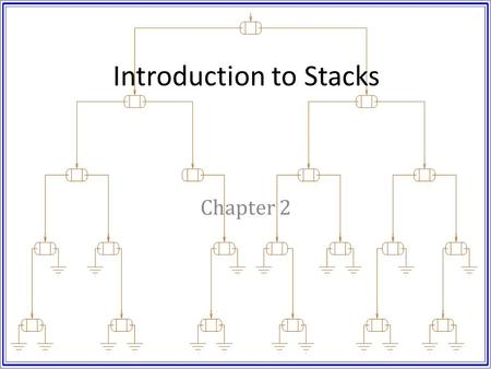 Introduction to Stacks Chapter 2. Objectives Introduce abstract data types. Discuss implementation types. – Static – Dynamic – Contiguous Introduce the.