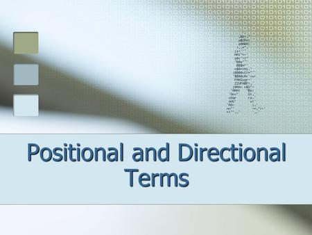 Positional and Directional Terms. DEFINITIONS Anatomy – the study of the structures of the body (ex.- names of bones) Physiology – the study of the functions.